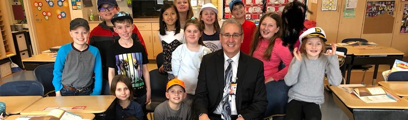 Superintendent, Mr. Dunham, spending time in the classroom